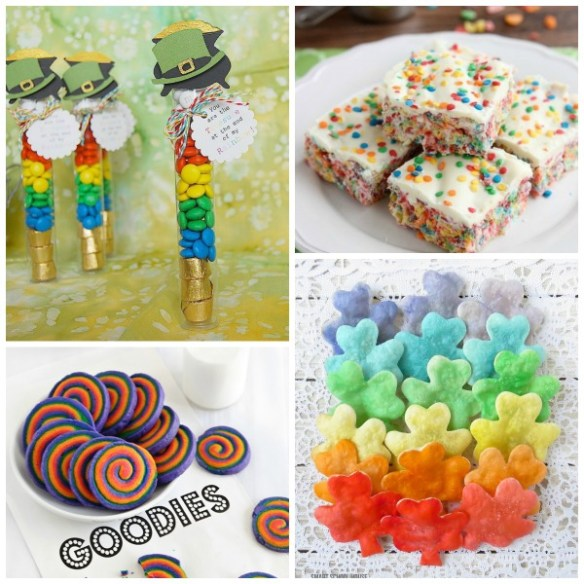 I love this collection of 20 adorable and easy-to-make  rainbow treats! These are perfect for St. Patrick's Day or a rainbow birthday party!