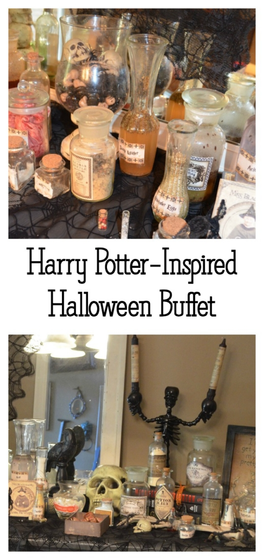Learn how to set up a fabulous Harry-Potter inspired Halloween buffet with items from around your house and the thrift shop!