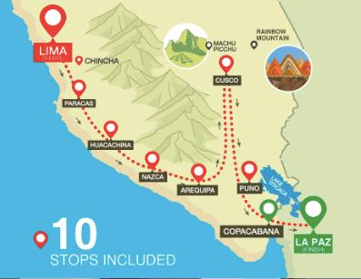 Lima to La Paz Route with PeruHop Bus.