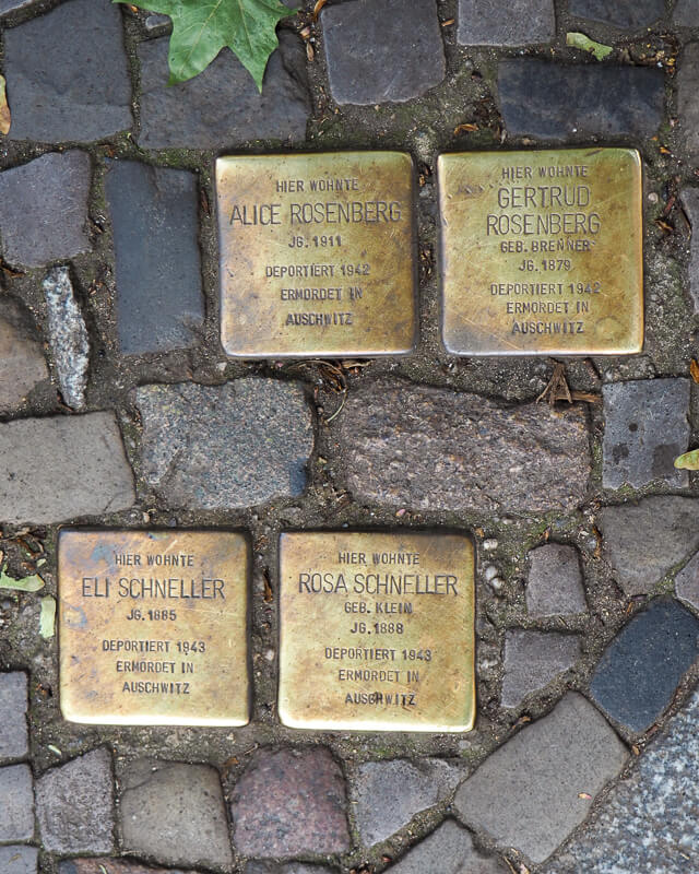 What to do in Berlin - Golden name plates on the road