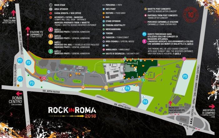 mappa Rock in Roma 2018