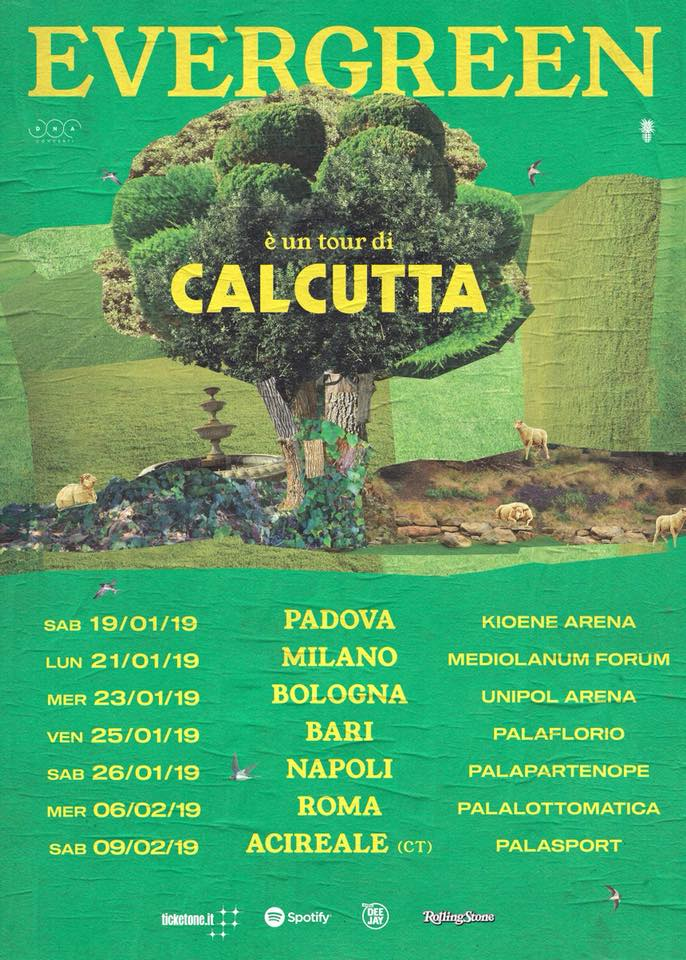 Calcutta concerti palazzetti gennaio febbraio 2019 padova, milano, bologna, bari, napoli, roma, acireale