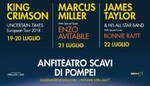 King Crimson Marcus Miller James Taylor concerti Pompei 19 - 22 luglio