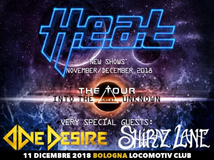 H.E.A.T. locandina concerto 11 dicembre 2018 Locomotiv Club Bologna con One Desire e Shiraz Lane