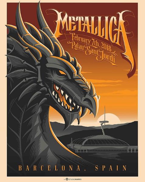 Metallica locandina concerto Barcellona 7 febbraio 2018