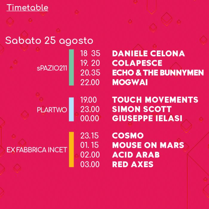 Todays Festival 2018 orari lineup sabato 25 agosto
