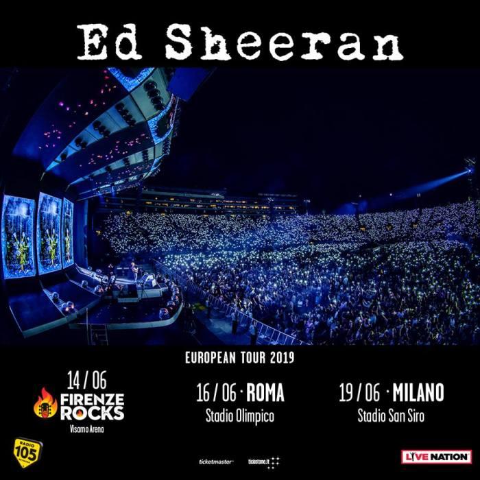 Ed SHeeran in concerto il 14 giugno 2019 al Firenze Rocks, il 16 giugno allo Stadio olimpico di Roma e il 19 giugno allo Stadio San Siro di Milano