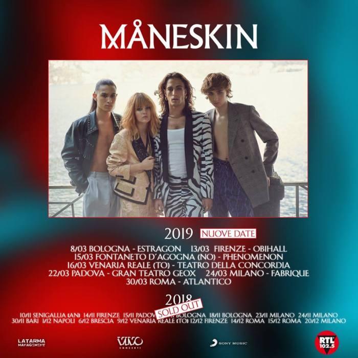 Maneskin in concerto nei club nel 2019