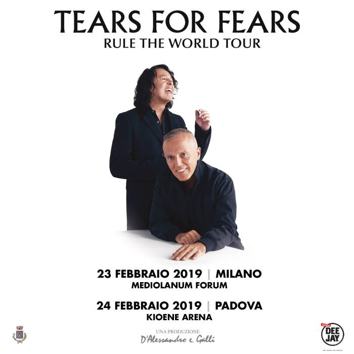 I Tears For Fears si esibiranno in Italia nel 2019 con due concerti il 23 febbraio al Mediolanum Forum di milano e il 24 febbraio alla Kioene Arena di Padova