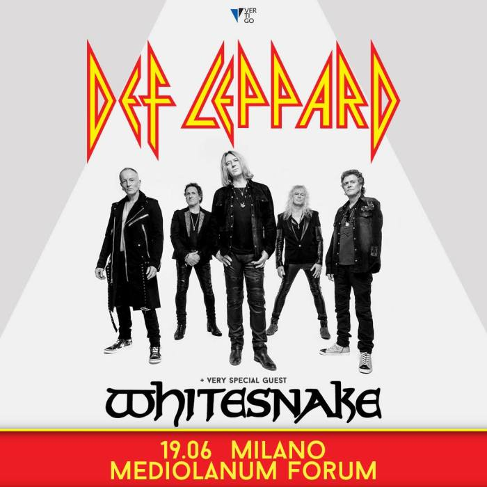 Def Leppard in concerto il 19 giugno al Mediolanum Forum di Milano insieme ai Whitesnake