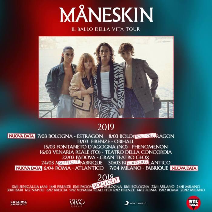 I Maneskin raddoppiano le date di Bologna, Roma e Milano a marzo e aprile 2019