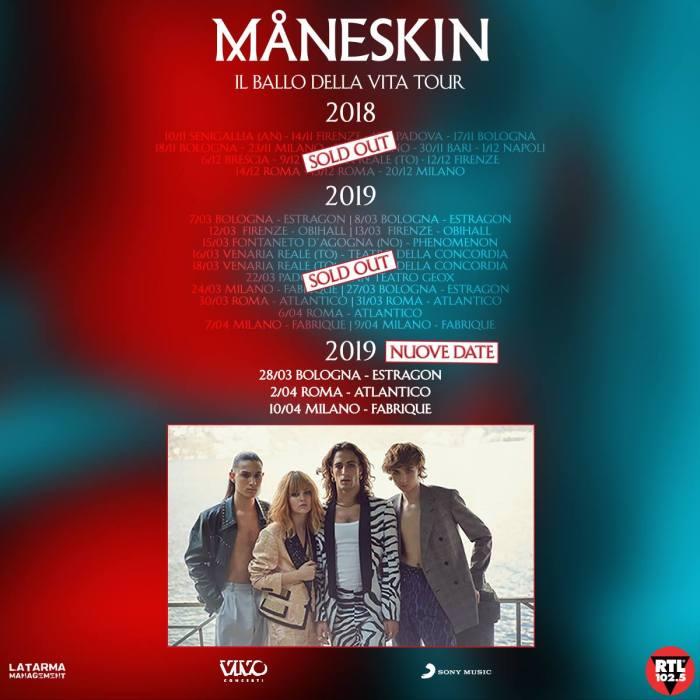 I Maneskin annunciano tre nuovi concerti a Bologna, Roma e Milano a marzo e aprile 2019