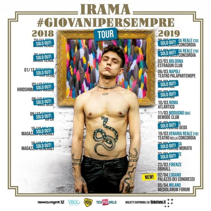 """""""Giovani Per Sempre Tour"""" di Irama: sold out a Brescia e nuova data a Lugano"""