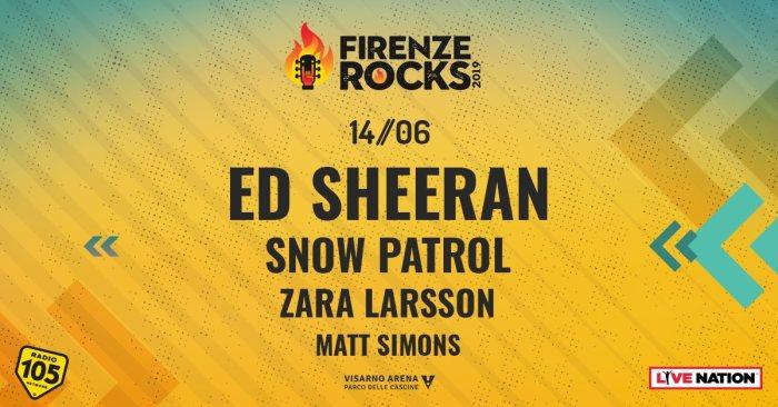 Snow Patrol, Zara Larsson e Matt Simons nella lineup del 14 giugno del Firenze Rocks 2019 insieme a Ed Sheeran
