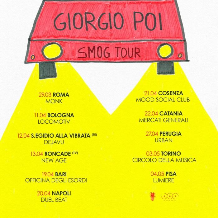 """Giorgio Poi date locandina """"Smog Tour"""""""