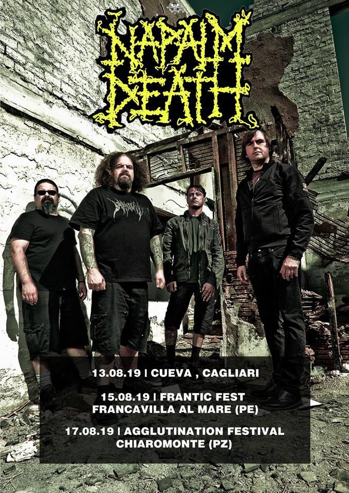 Napalm Death in tour in Italia nell'estate 2019