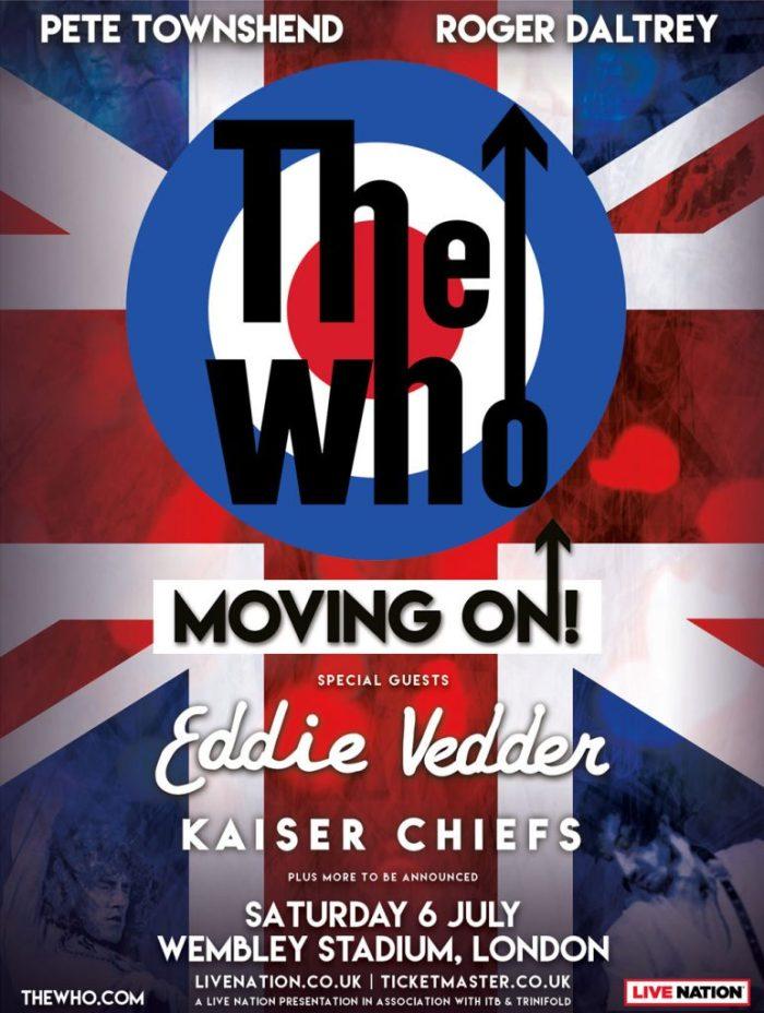 The Who e Eddie Vedder dal vivo il 6 luglio allo Stadio di Wembley, Londra
