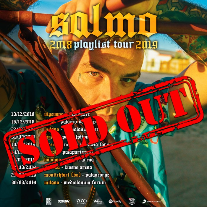 "Sold out le date del ""Playlist Tour 2019"" di Salmo"