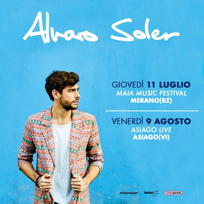 Alvaro Soler in concerto l'11 luglio a Merano e il 9 agosto ad Asiago
