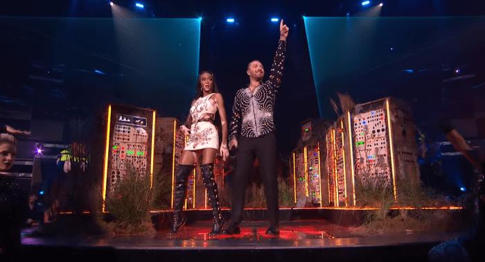 Sam Smith, Dua Lipa e Rag'N'Bone Man sul palco dei Brit Awards 2019 con Calvin Harris