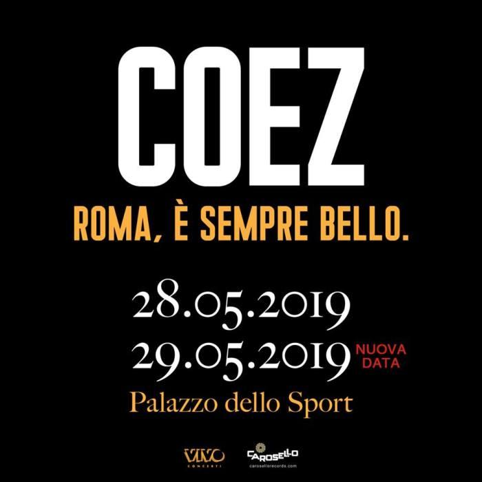 Coez due concerti 28 e 29 maggio Palazzo dello Sport di Roma
