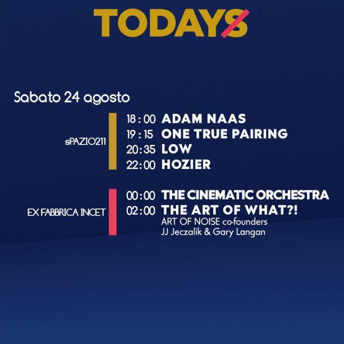 Programma TOdays Festival sabato 24 agosto Torino