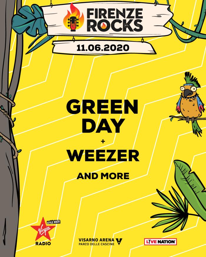 Firenze Rocks 2020, i primi headliner sono i Green Day con i Weezer