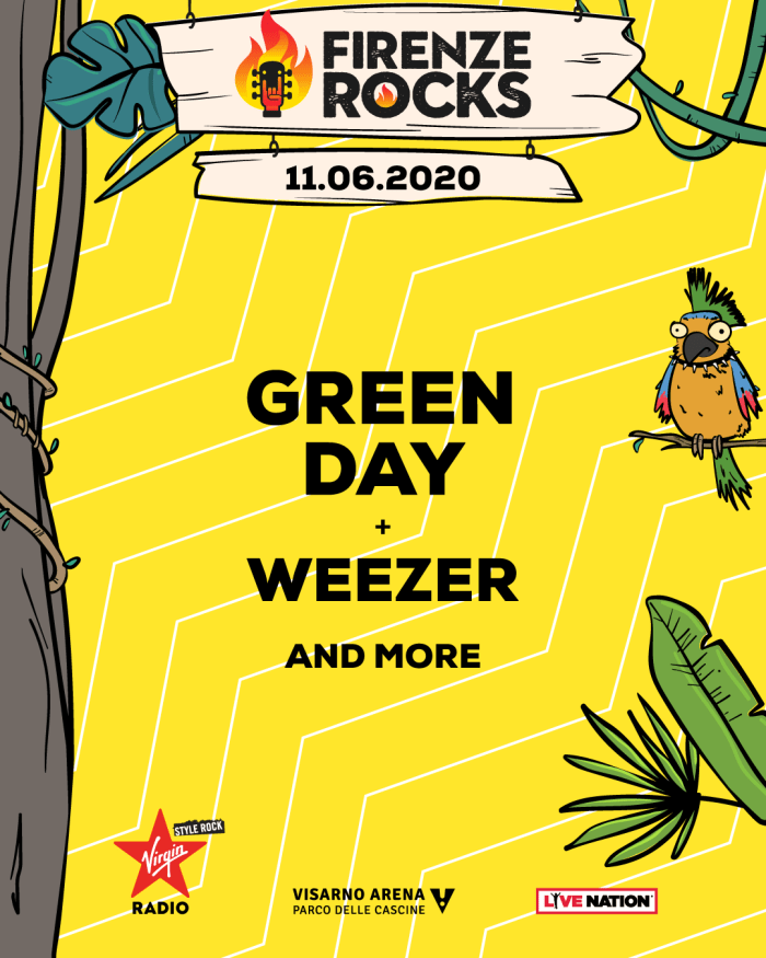 Firenze Rocks 2020, i primi headliner sono i Green Day con i Weezer