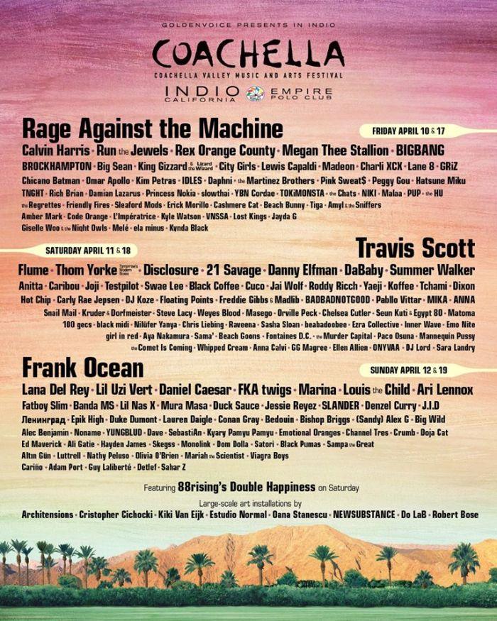 lineup Coachella 2020