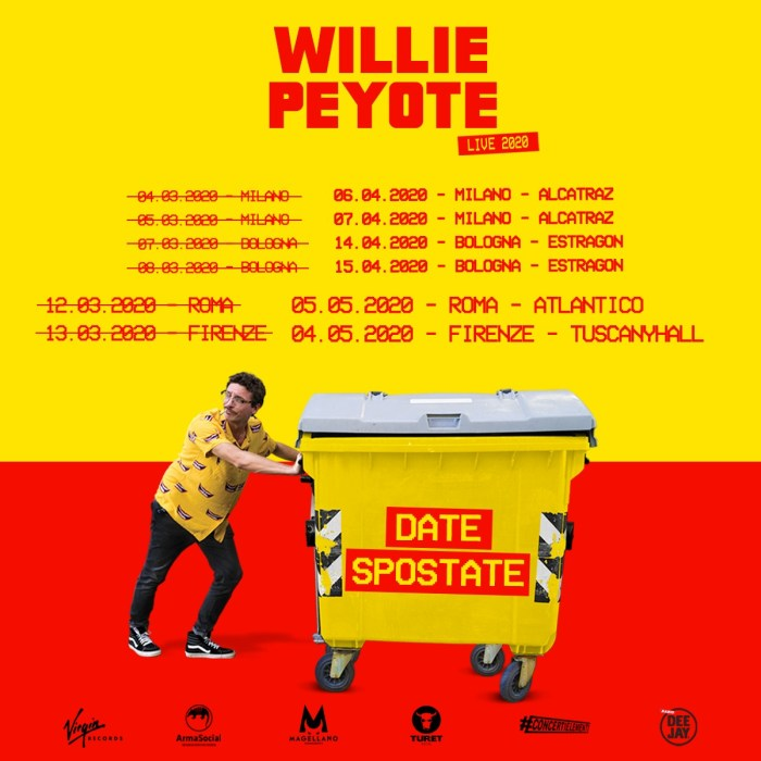 Date tour 2020 Willie Peyote