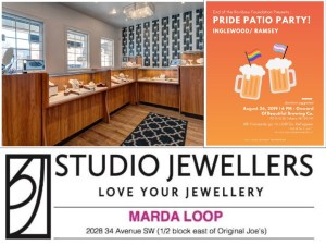 Bid to win custom made jewellry by a refugee artist, made for the Pride Patio Party; Value $1000