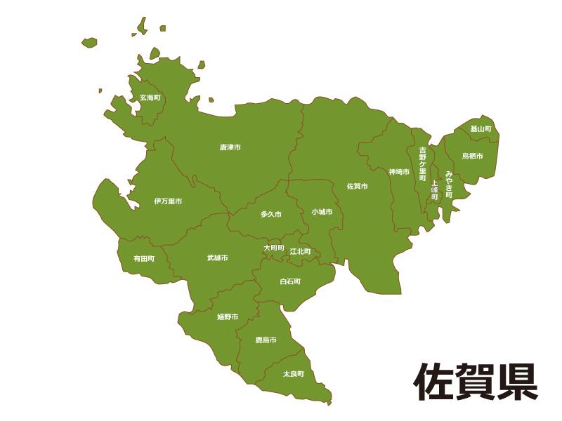 佐賀県内で佐賀市の位置をWEB閲覧者にわかりやすいように案内している地図画像