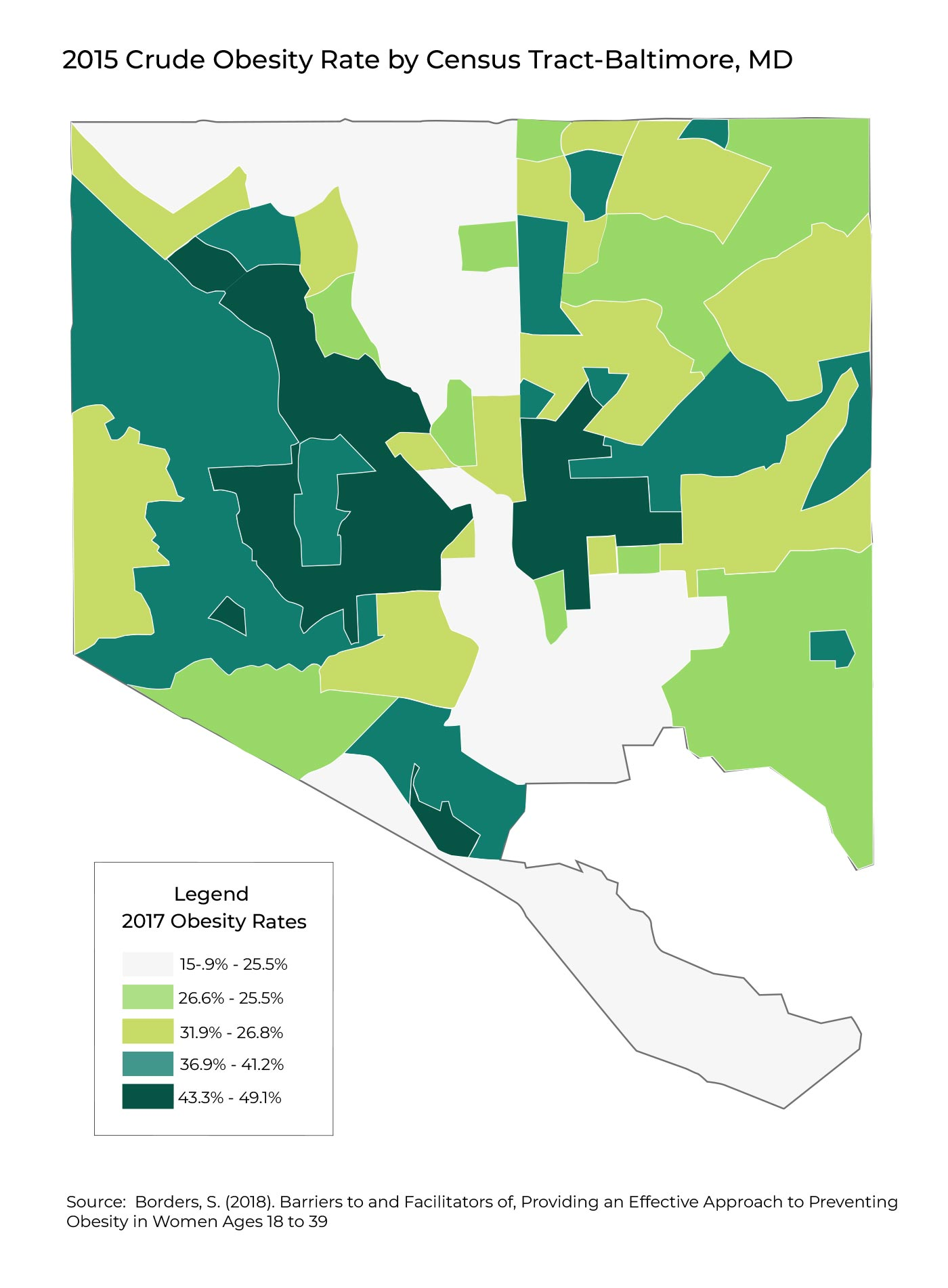 2015 Crude Obesity Rate by Census Tract-Baltimore, MD