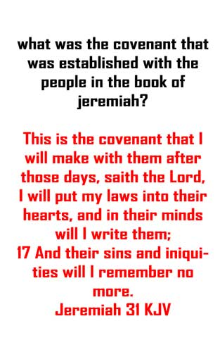 What was the covenant that was established with the people in the book of Jeremiah?