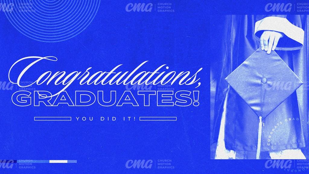 Congratulations Graduates Blue Duotone Modern-Subtitle