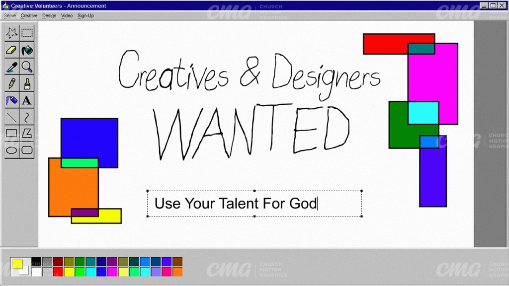 Creatives And Designers Wanted Windows 95 Paint Tacky-Subtitle