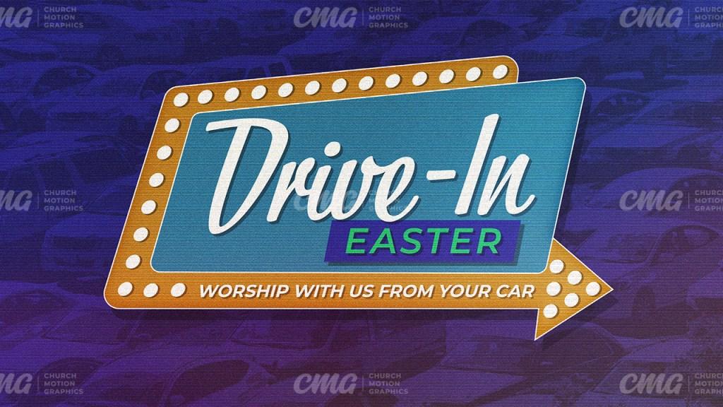 Drive-In Easter Retro Sign Purple Duotone-Subtitle