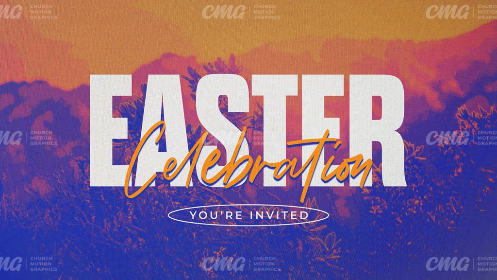 Easter Celebration Colorful Tritone Sunrise Script-Subtitle
