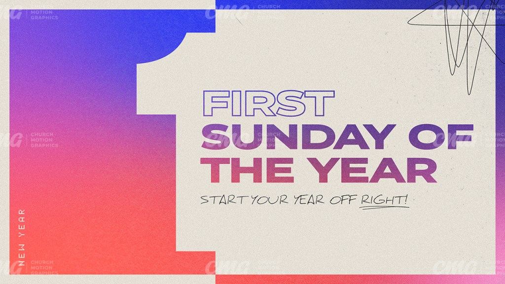 First Sunday Of The Year Gradient Beige Box Scribble Modern-Subtitle