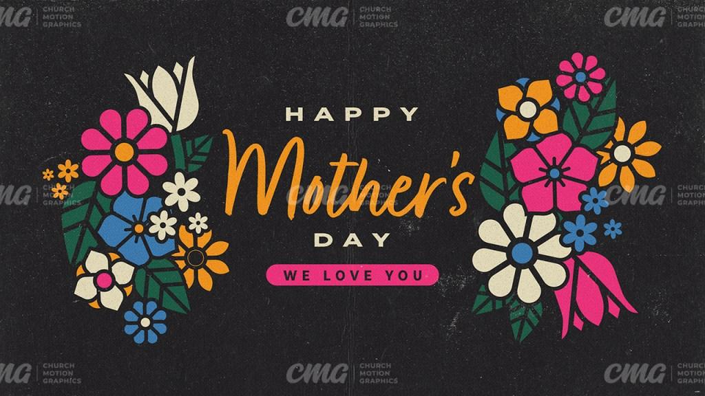 Happy Mother's Day Dark Floral Illustration-Subtitle