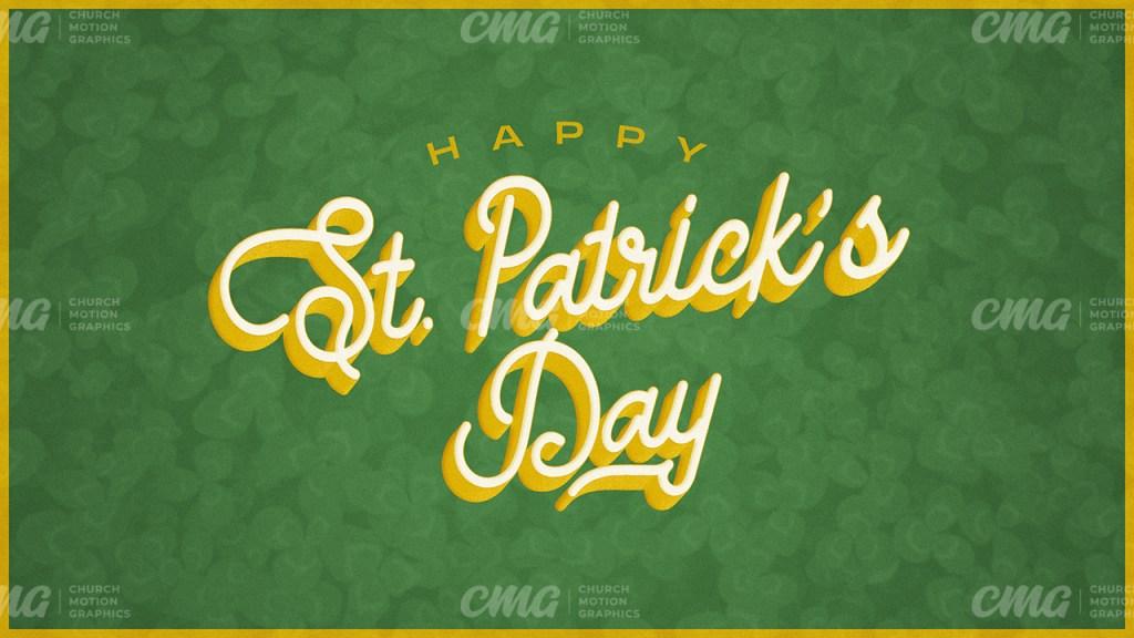 Happy Saint Patrick's Day Green Yellow Script Clovers-Subtitle