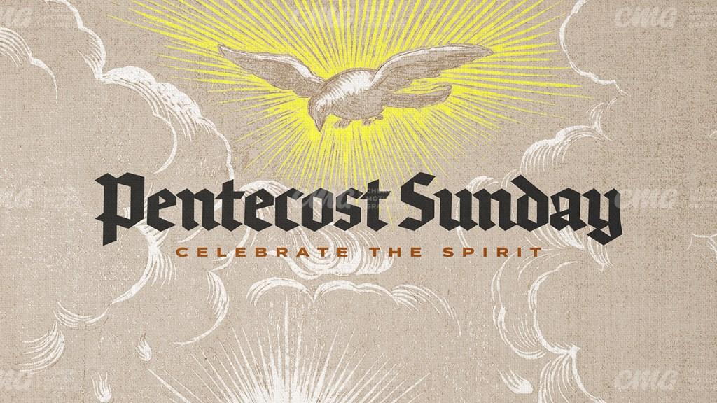 Pentecost Sunday Dove Rays Illustration Blackletter-Subtitle