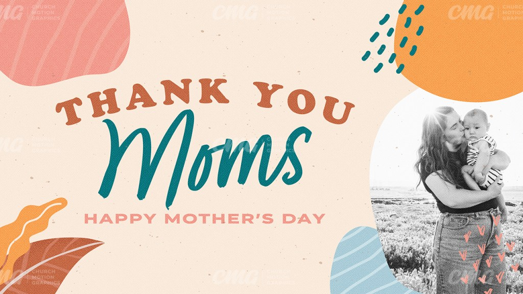 Thank You Moms Colorful Organic Shapes Photo-Subtitle