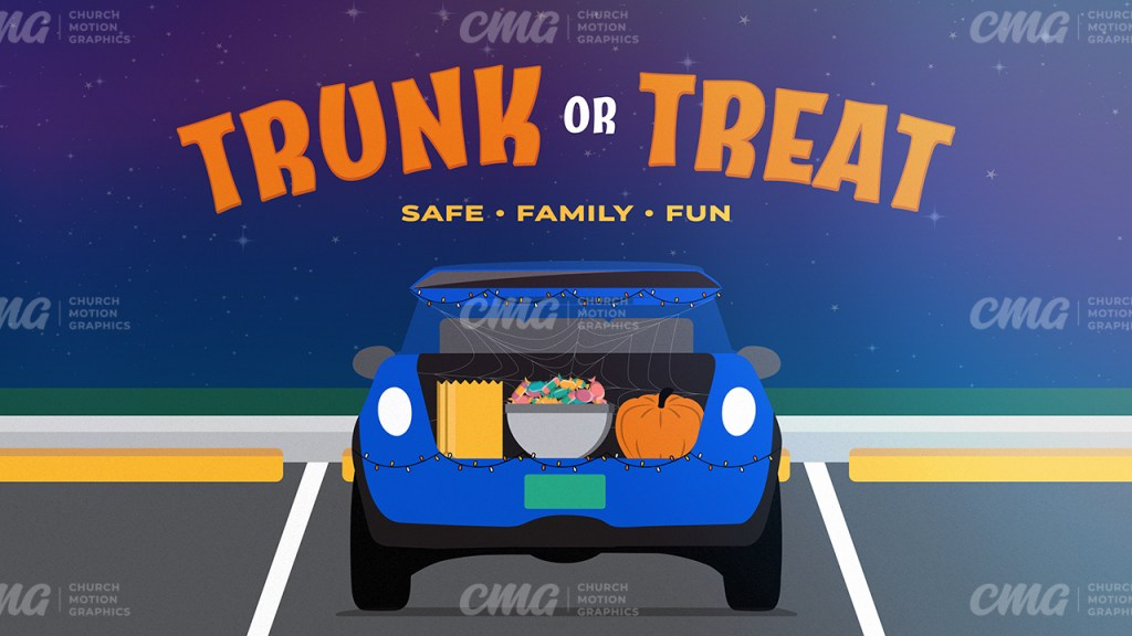 Trunk or Treat Illustrated Car Trunk Parking Lot Night Sky-Subtitle