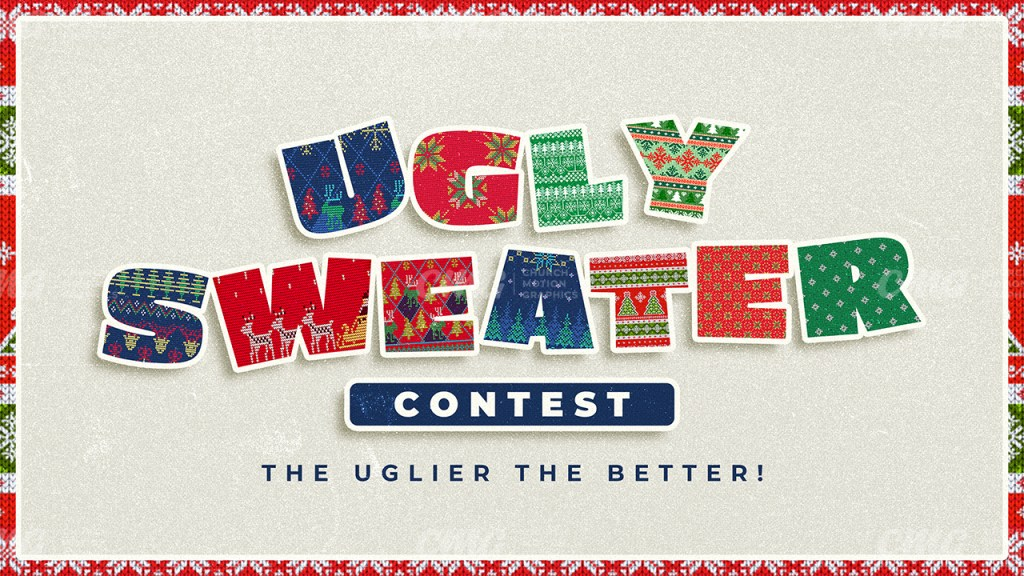 Ugly Sweater Contest Christmas Various Fabric Texture Letters Cream-Subtitle
