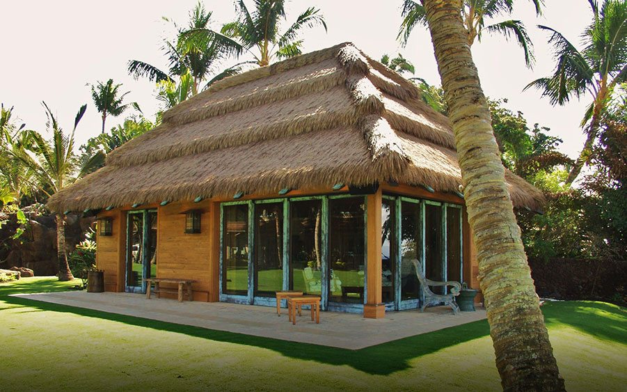Alang-alang thatching and pili grass thatching are traditional roofing materials in the tropical Pacific region.