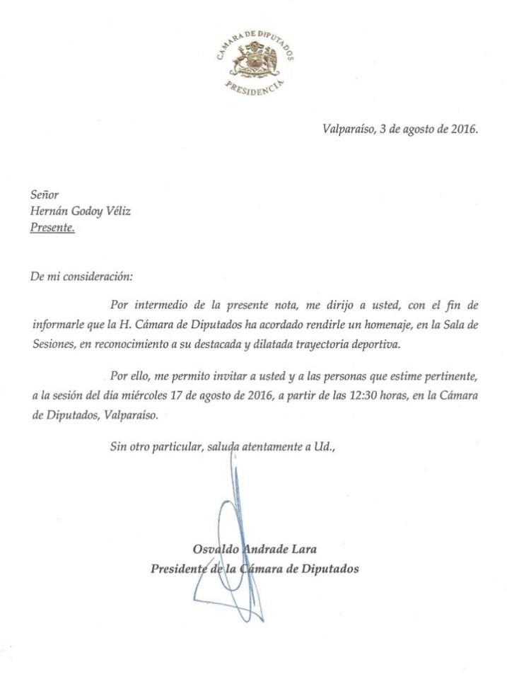 La carta que extendió Osvaldo Andrade al entrenador bohemio. Foto: Facebook Hernán Godoy