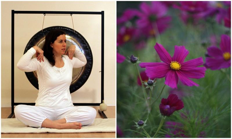 Kvinna yoga blommor