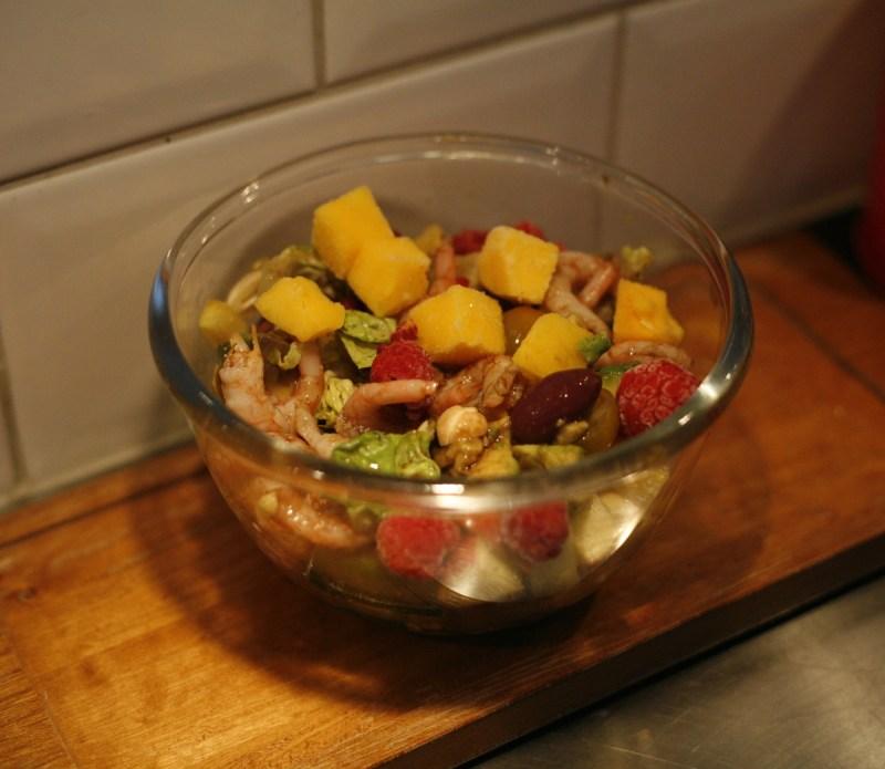 räksallad med frukt