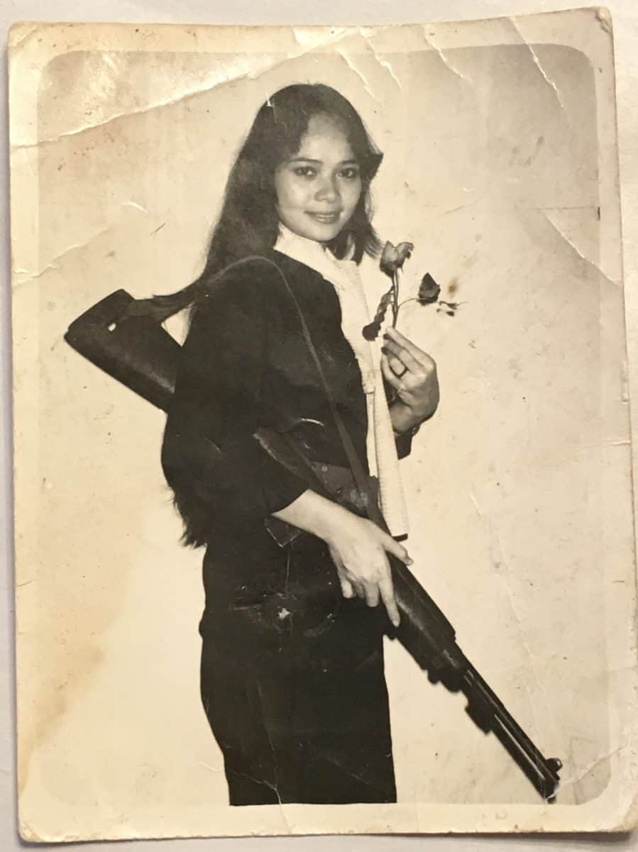Photograph Of Viet Cong Female With M1 Carbine Amp Scarf